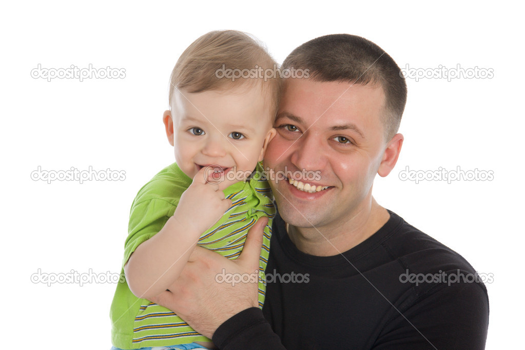 Smiling father and son isolated on white — Stock Photo #1640093