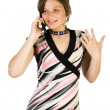 Pretty girl talking at mobile phone — Stock Photo