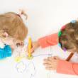 Two little girl painting — Stock Photo