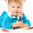Pretty caucasian baby paint — Stock Photo