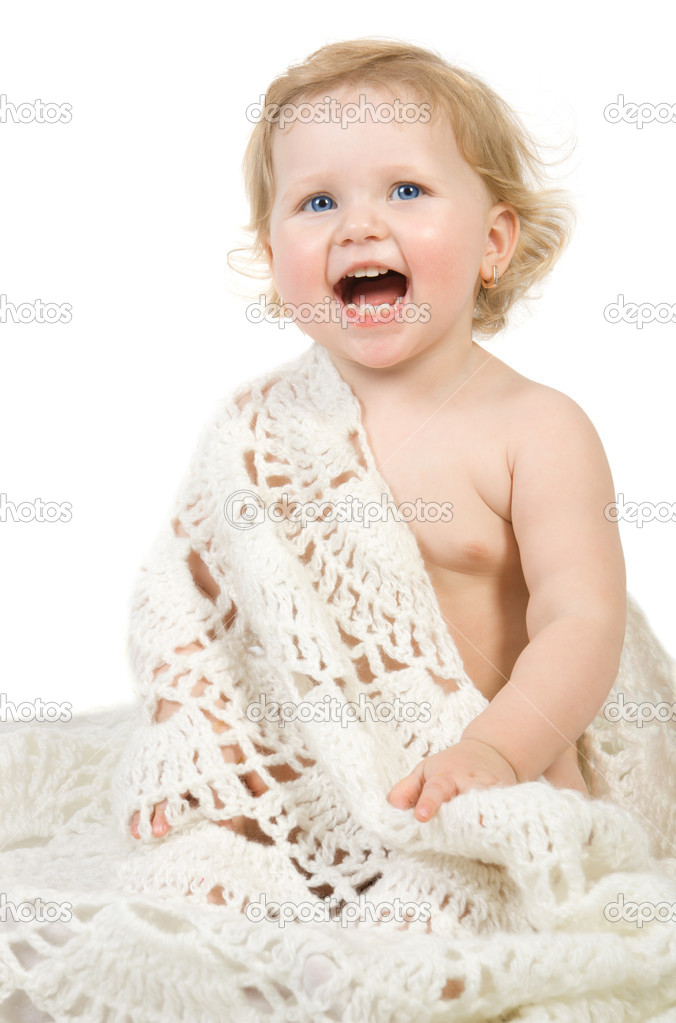 Happy pretty baby portrait with scarf. Isolate on white. — Stock Photo #1957744