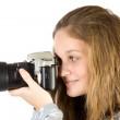 Young girl with SLR camera — Stock Photo #1963787