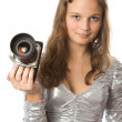 Young girl with SLR camera — Stok fotoğraf