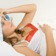Girl in the bed expressing flu — Stock Photo