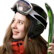 Stock Photo: Smiling skier girl