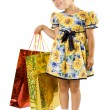 Little girl with shopping bag. — Stock Photo