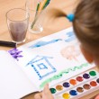 Little girl watercolor paint — Stock Photo
