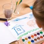 Little girl watercolor paint — Stock Photo