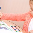 Pretty caucasian child watercolor paint — Stock Photo #2389139