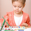 Pretty caucasian child watercolor paint — Stock Photo