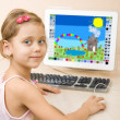 Little girl draws at the computer — Stock Photo #2389186