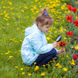 Young girl researching a flower — Stok fotoğraf