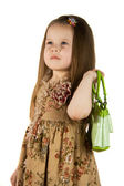 Girl with green bag — Stock Photo