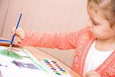 Pretty caucasian child watercolor paint — Stock Photo