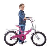 Young girl stay with her bike — Stockfoto