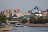 Embankment on a moscow river — Stock Photo