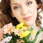 Portrait gorgeous women with flowers — Stock Photo #2555134