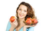 Mujeres jóvenes con manzanas — Foto de Stock