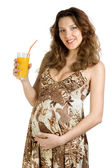 Happy pregnant drink juice — Foto de Stock