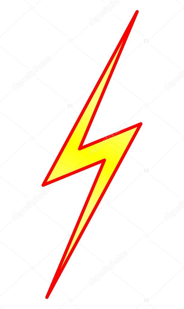 Yellow lightning symbol with red contour on white background  Stock Vector #1493832