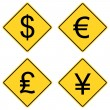 Stock Vector: Currency Symbols on Road Signs