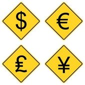 Currency Symbols on Road Signs — Stock Vector