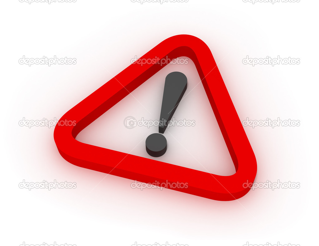 Red triangular warning sign over white background — Stock Photo #1644843
