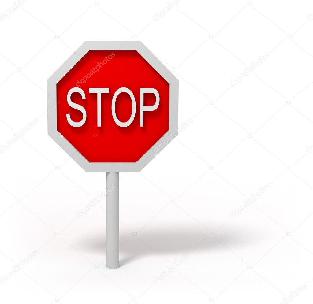 Stop road sign 3D over white background — Stock Photo #1806316