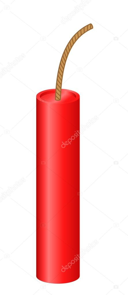 Red dynamite stick over white background — Stock Vector #1813364