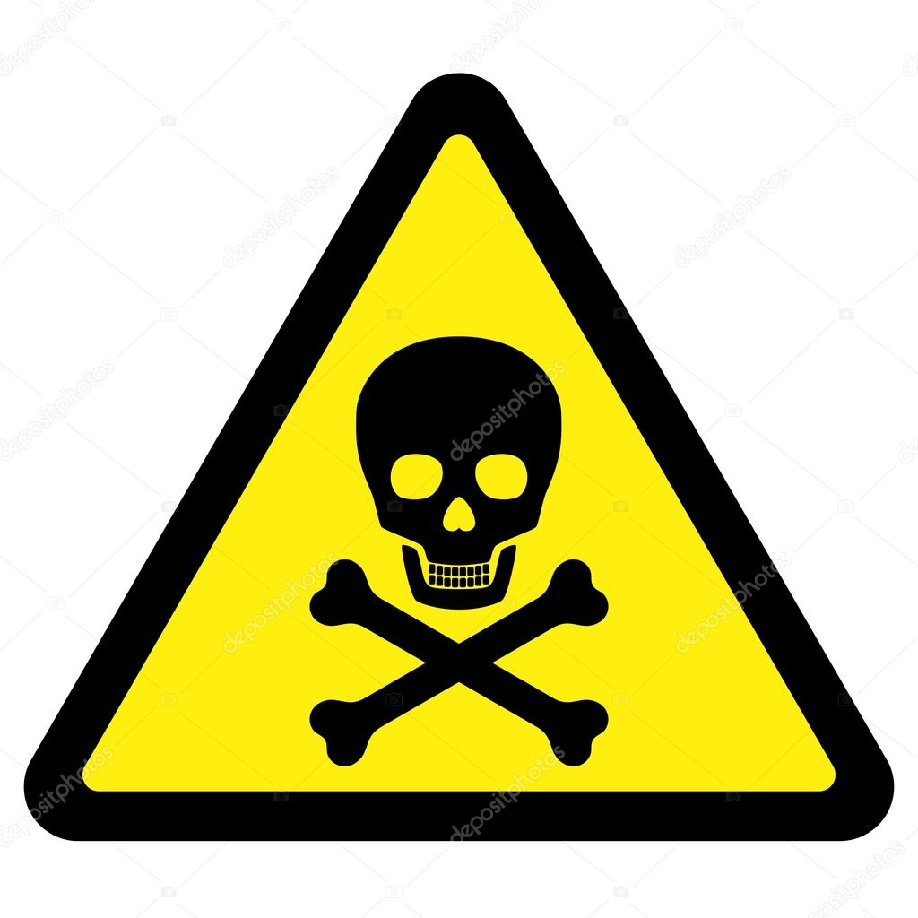 Deadly Danger - yellow warning sign over white background — Vektorgrafik #2597171