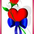 Heart, flower and bow — Stock Vector