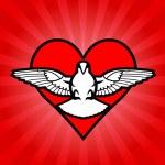 Bird, heart, background — Stock Vector