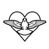 Dove, heart, tattoo — Stock Vector