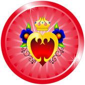 Heart, flowers, crown — Stock Vector