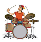 Drummer isolated — Stock Vector