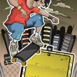 Skater performs a trick on the backgroun - Stock Vector