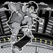 Skater on the black and white backgroun - Stock Vector