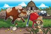 On the farm — Stock Vector