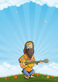 Hippie with guitar outdoor — Stock Vector