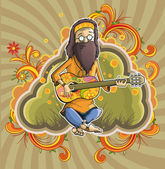 Hippie with guitar in nirvana — Stock Vector