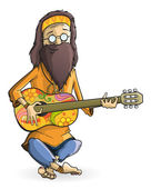 Hippie with guitar isolation — Stock Vector