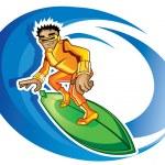 Surfer orange — Stock Vector
