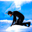 A diver on the ice — Stock Photo