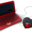 Heart&#039;s style red laptop - Stock Photo