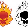 Stock Vector: Flaming Skull