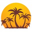 Stock Vector: Palm Trees And Summer Sunset