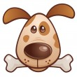 Brown Puppy With Bone — Stock Vector