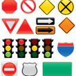 Map And Traffic Signs And Symbols - Stok Vektör