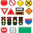 Map And Traffic Signs And Symbols — Stock Vector