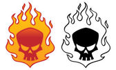 Flaming Skull — Stock Vector